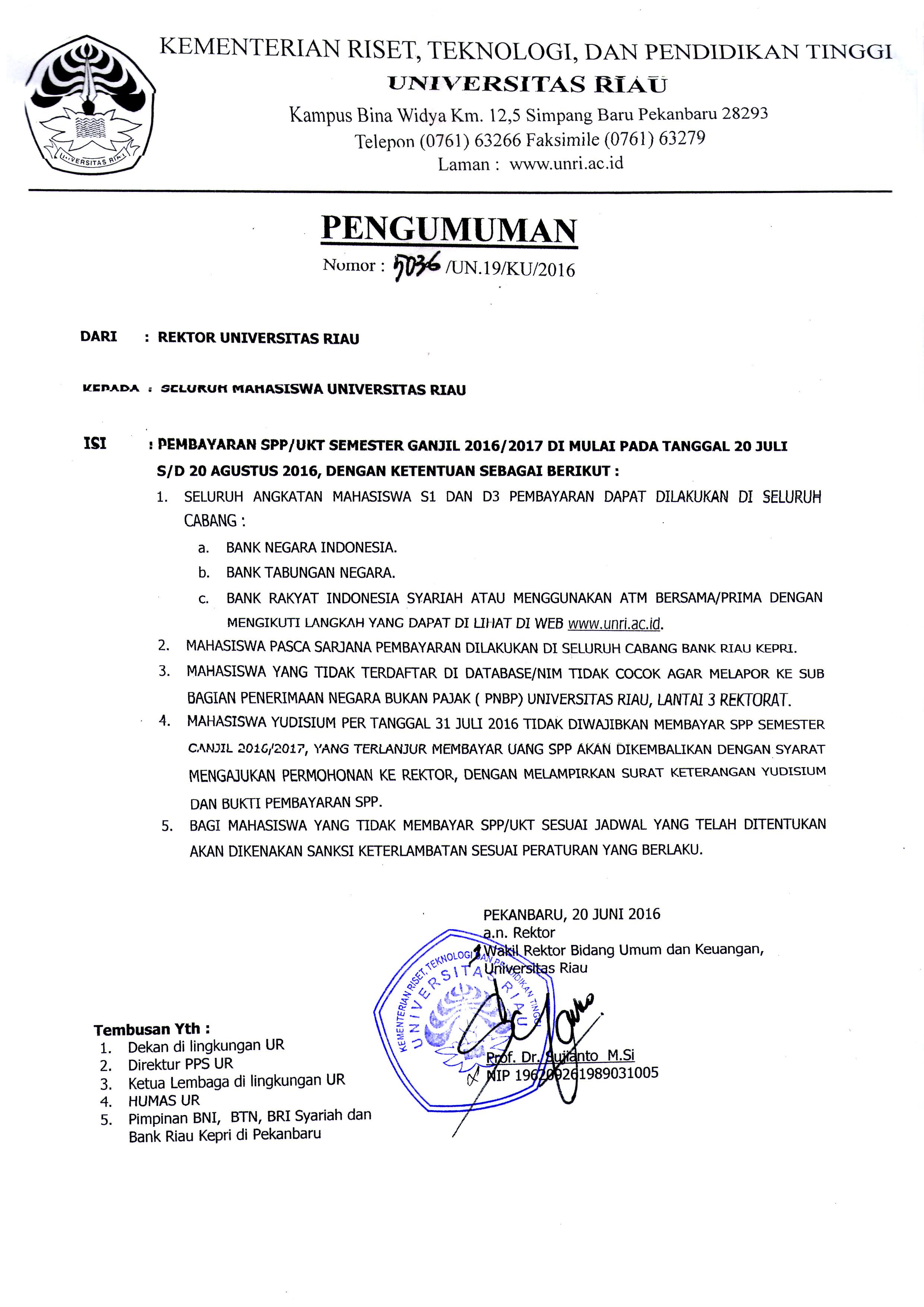 JADWAL PEMBAYARAN SPP SEMESTER GANJIL 2