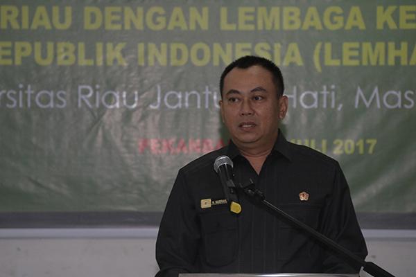 Sambutan dari Mayjen TNI, Nunu Nugrraha, Ketua Rombongan Studi Strategi Dalam Negeri (SDDN) Reguler angkatan 56 Lemhanas RI